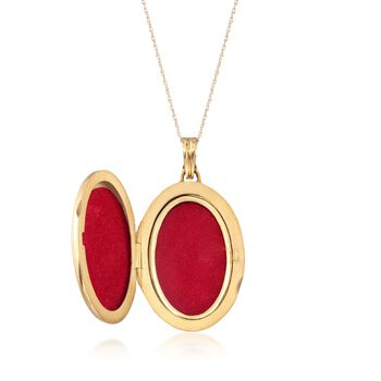 "C. 1960 Vintage .35 ct. t.w. Diamond Oval Locket Pendant Necklace With Red and Black Enamel in 14kt and 18kt Gold. 18"", , default"