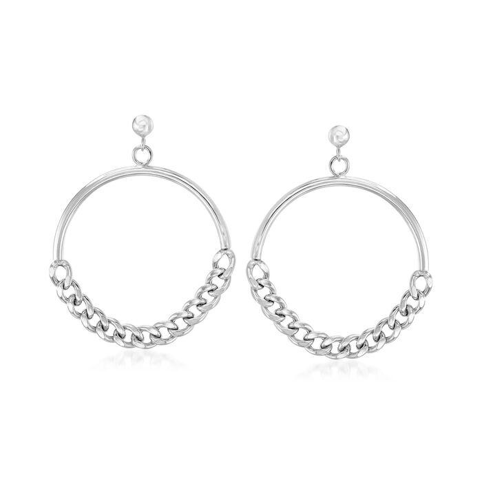 Italian Sterling Silver Curb-Link Chain Circle Drop Earrings