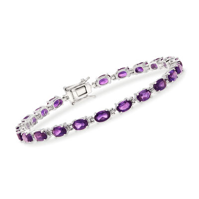 9.25 ct. t.w. Amethyst Tennis Bracelet in Sterling Silver