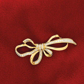 .33 ct. t.w. Diamond Bow Pin in 14kt Yellow Gold, , default