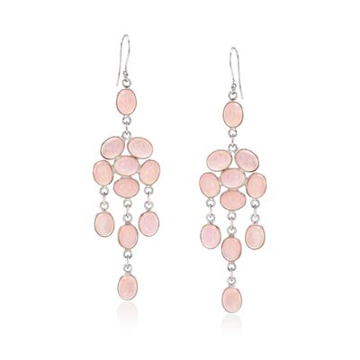 Pink Chalcedony Chandelier Drop Earrings in Sterling Silver, , default