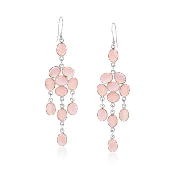 Pink Chalcedony Chandelier Drop Earrings in Sterling Silver , , default
