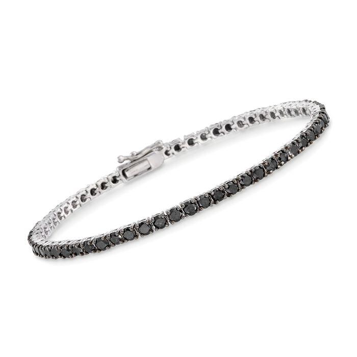 """5.00 ct. t.w. Black Diamond Tennis Bracelet in Sterling Silver. 7"""""""
