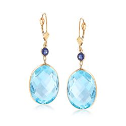 30.00 ct. t.w. Blue Topaz and .50 ct. t.w. Sapphire Drop Earrings in 14kt Yellow Gold , , default