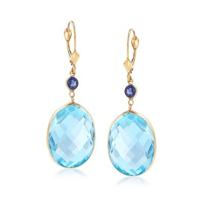 30.00 ct. t.w. Blue Topaz and .50 ct. t.w. Sapphire Drop Earrings in 14kt Yellow Gold, , default