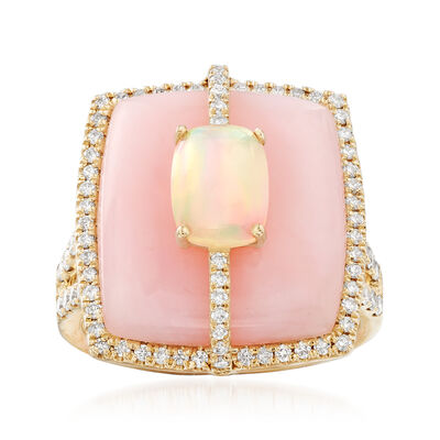 17x15mm Pink Opal, 6x8mm White Opal and .59 ct. t.w. Diamond Ring in 14kt Yellow Gold, , default