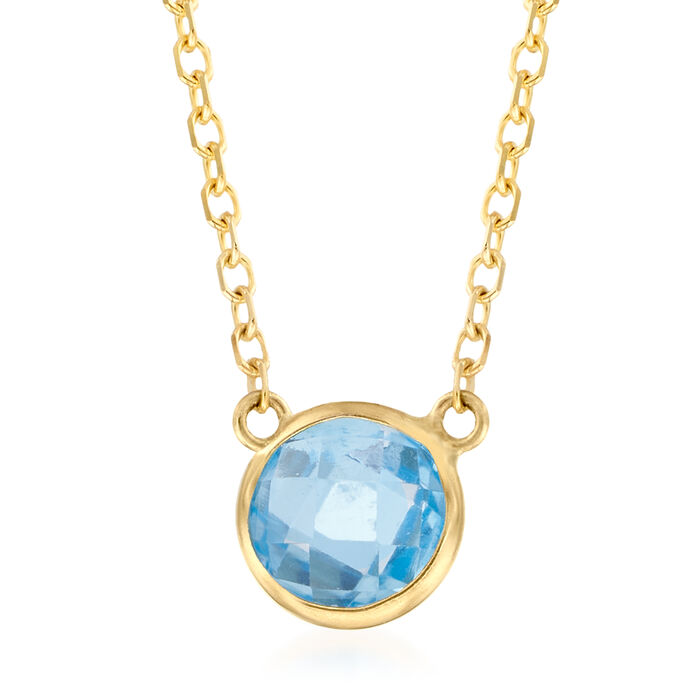 .90 Carat Blue Topaz Necklace in 14kt Yellow Gold