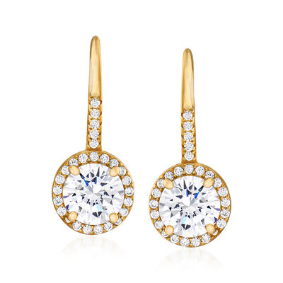 2.80 ct. t.w. CZ Drop Earrings in 18kt Gold Over Sterling