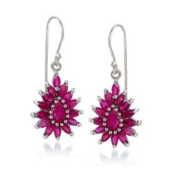 3.00 ct. t.w. Ruby Cluster Drop Earrings in Sterling Silver, , default