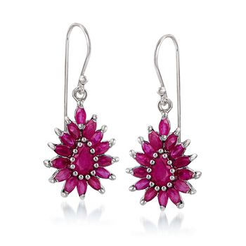 3.00 ct. t.w. Ruby Cluster Drop Earrings in Sterling Silver, , default