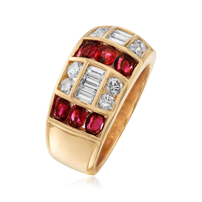 C. 1980 Vintage 2.07 ct. t.w. Ruby and 1.00 ct. t.w. Diamond Ring in 18kt Yellow Gold