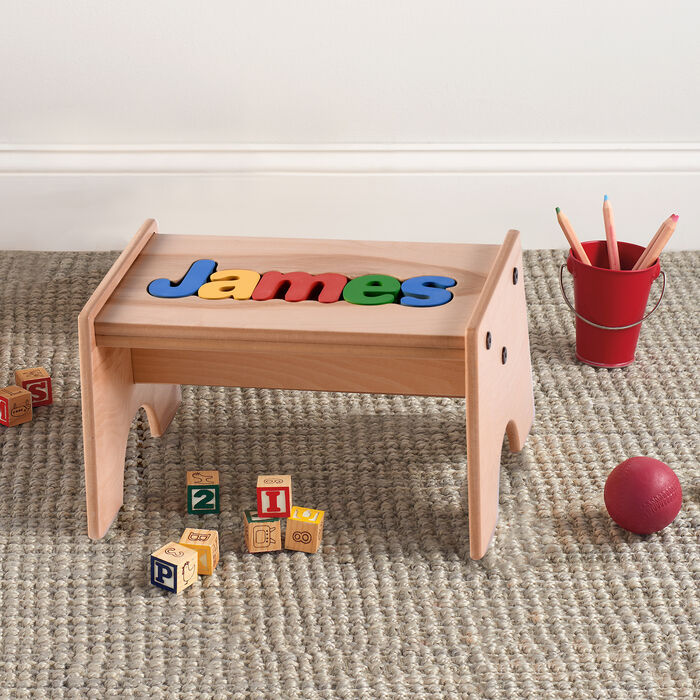 Child's Maple-Finished Personalized Name Puzzle Stool - Primary Colors, , default