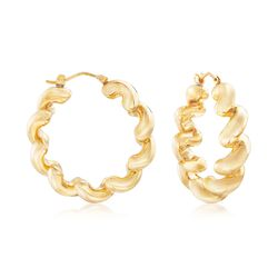 "Italian Andiamo 14kt Yellow Gold San Marco Hoop Earrings. 1 1/4""., , default"