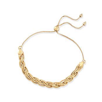 Cable-Link Bolo Bracelet in 18kt Yellow Gold. Adjustable Size, , default