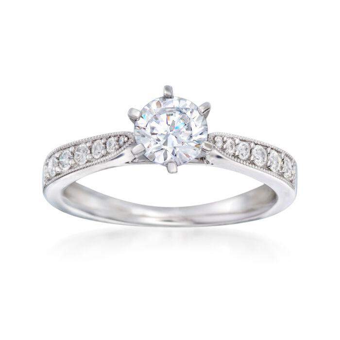 .22 ct. t.w. Diamond Milgrain Engagement Ring Setting in 14kt White Gold, , default