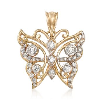 .45 ct. t.w. CZ Butterfly Pendant in 14kt Yellow Gold, , default