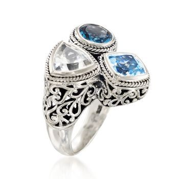Balinese 5.10 ct. t.w. London Blue and White Topaz Ring in Sterling Silver, , default