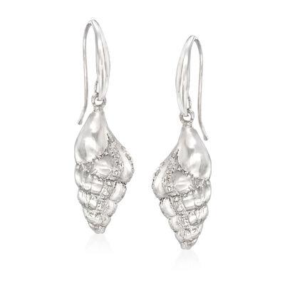 Italian Sterling Silver Seashell Earrings, , default