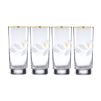 "Lenox ""Holiday"" Set of 4 Gold Highball Glasses, , default"
