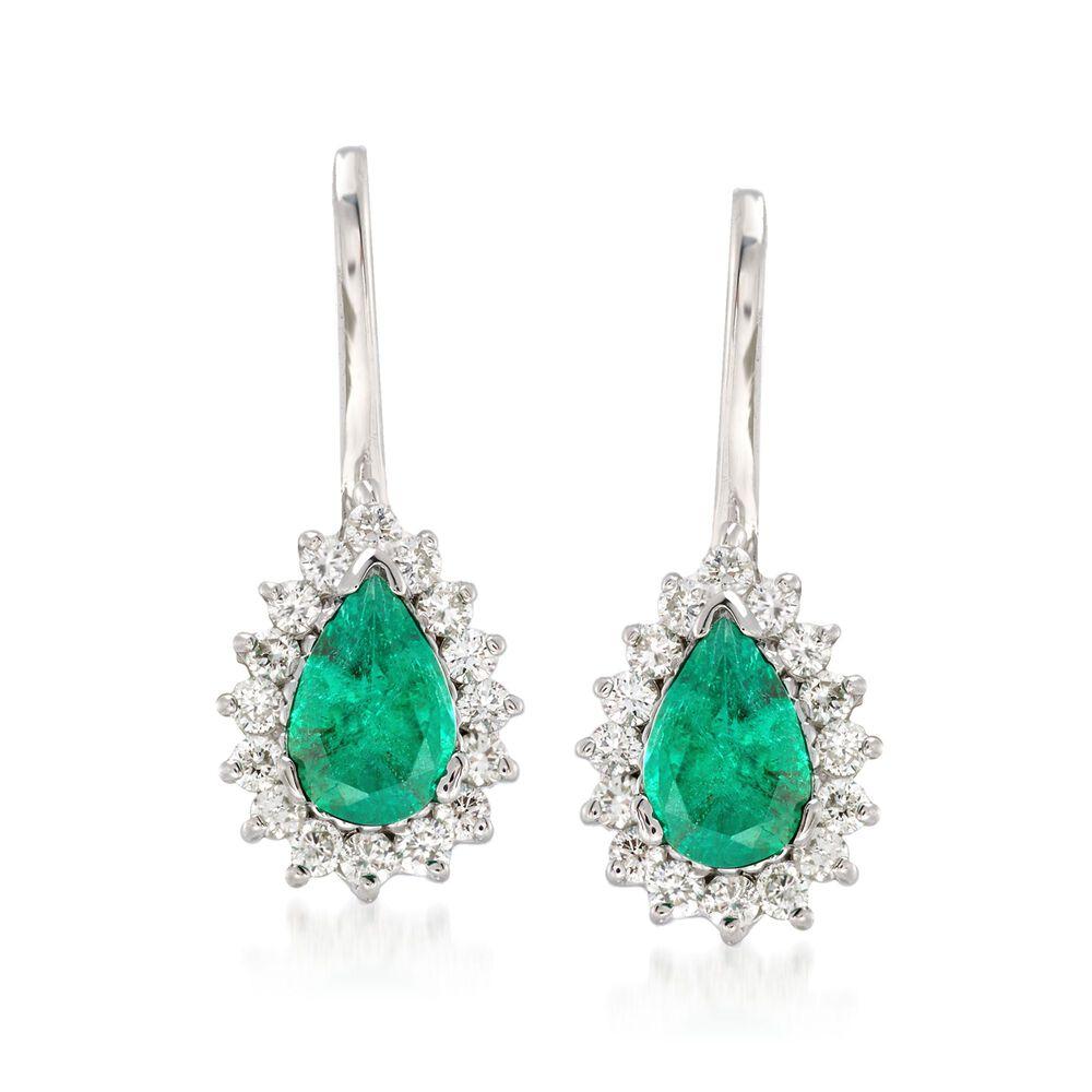 T W Emerald And 28 Ct Diamond Drop Earrings In