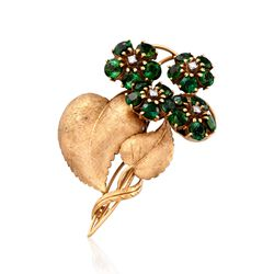 C. 1970 Vintage Tiffany Jewelry 6.00 ct. t.w. Green Tourmaline Floral Pin in 18kt Yellow Gold, , default