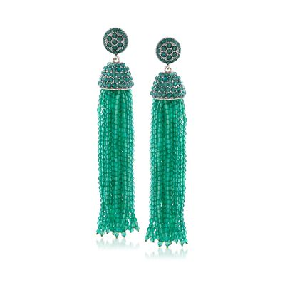 Green Chalcedony Bead Tassel Earrings in Sterling Silver