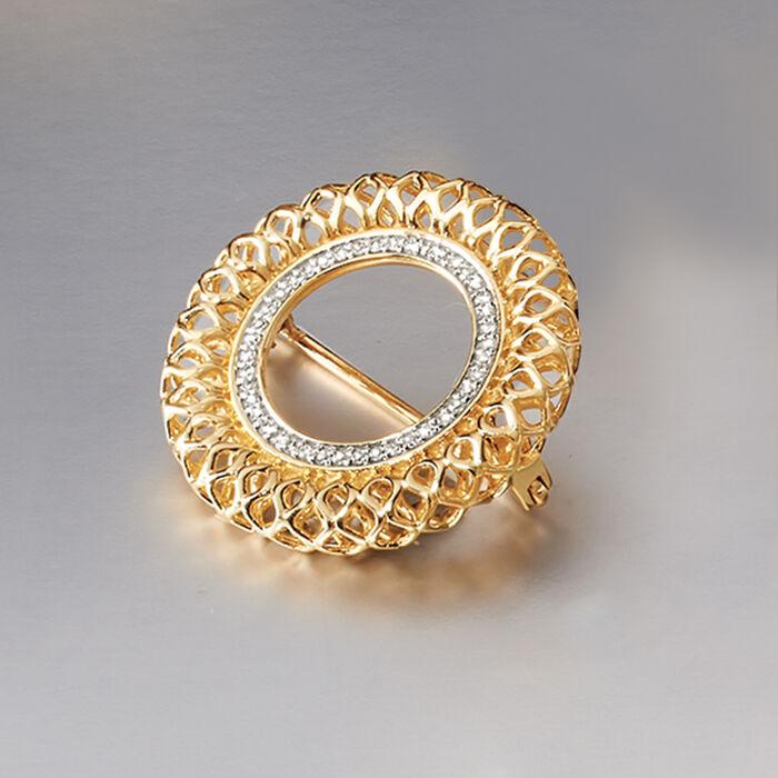 .16 ct. t.w. Diamond Openwork Circle Pin in 14kt Yellow Gold