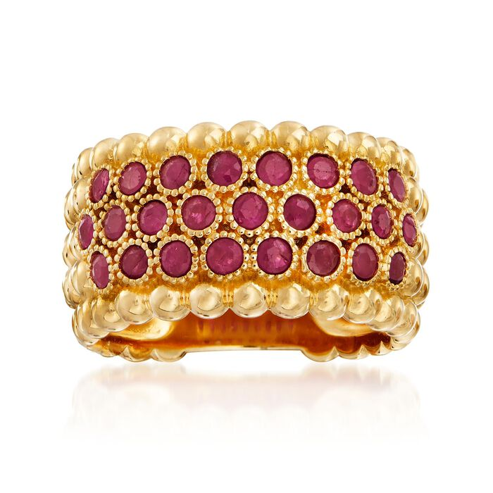 .90 ct. t.w. Ruby Beaded Multi-Row Ring in 18kt Gold Over Sterling