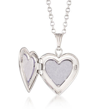 Child's Diamond Accent Heart Locket Necklace in Sterling Silver. 15""