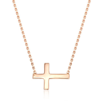 14kt Rose Gold East-West Mini Cross Necklace, , default