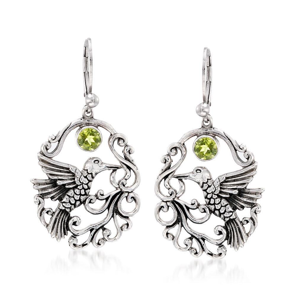 T W Peridot Openwork Hummingbird Earrings In Sterling Silver 1 3