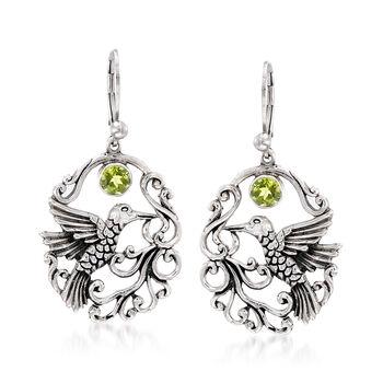 """.90 ct. t.w. Peridot Openwork Hummingbird Earrings in Sterling Silver. 1 3/4"""", , default"""