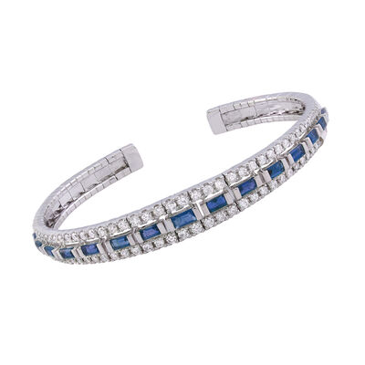 1.70 ct. t.w. Sapphire and 1.41 ct. t.w. Diamond Bangle Bracelet in 18kt White Gold