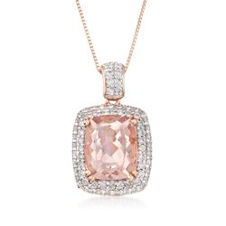 "3.60 Carat Morganite and .50 ct. t.w. Diamond Pendant Necklace in 14kt Rose Gold. 18"", , default"
