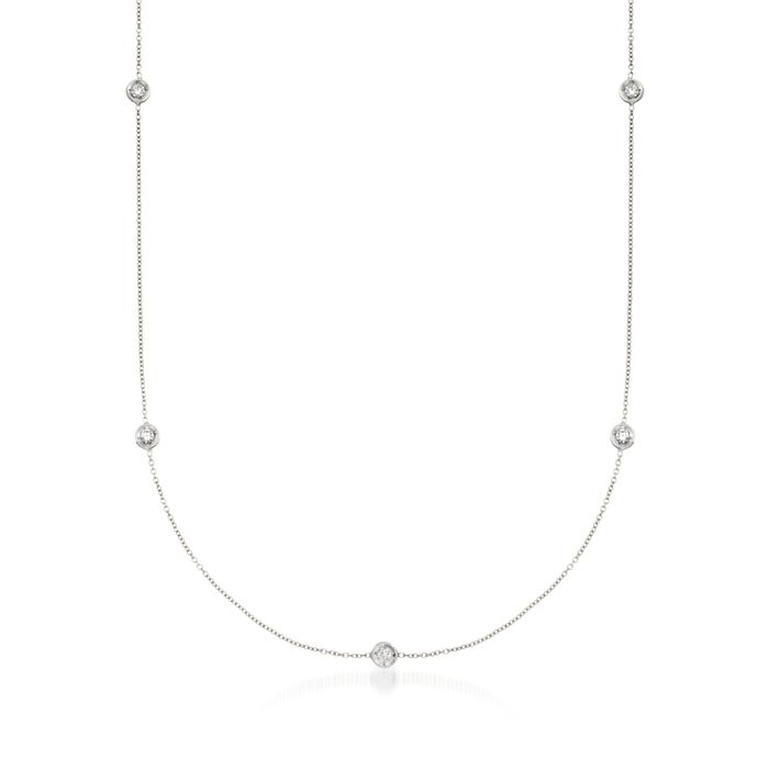 Roberto Coin .23 ct. t.w. Diamond Station Necklace in 18kt White Gold, , default