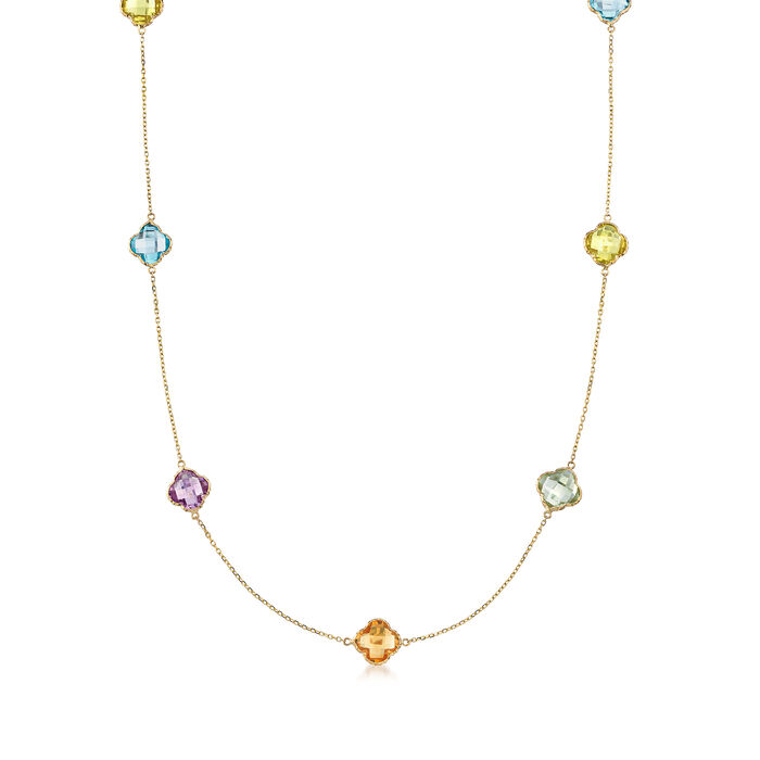 """43.5 ct. t.w. Multi-Stone Clover-Shape Station Necklace in 14kt Yellow Gold. 36"""", , default"""