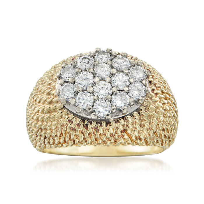 C. 1970 Vintage 1.10 ct. t.w. Diamond Oval Cluster Ring in 14kt Yellow Gold. Size 5.5