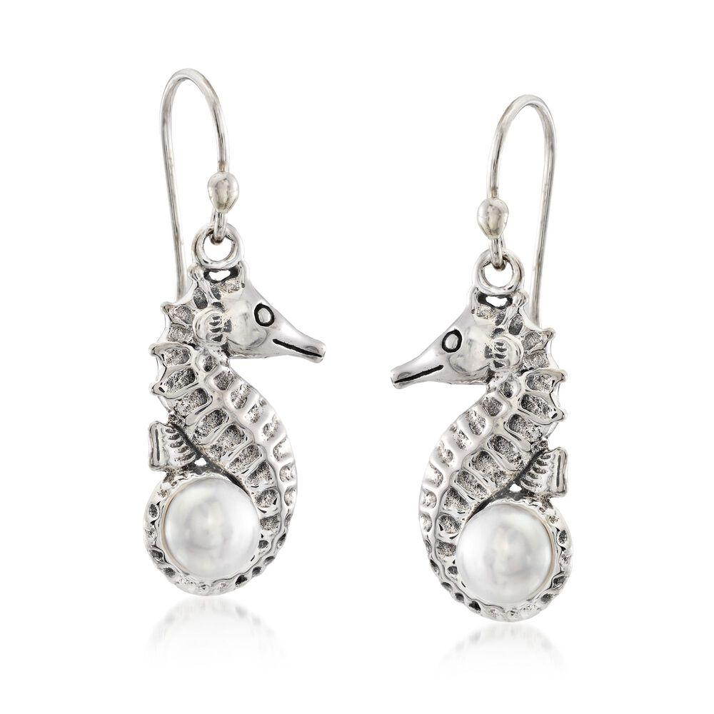 6mm Cultured Pearl Seahorse Drop Earrings In Sterling Silver Default