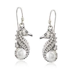 6mm Cultured Pearl Seahorse Drop Earrings in Sterling Silver, , default