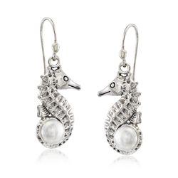 6mm Cultured Pearl Seahorse Drop Earrings in Sterling Silver, , default