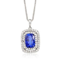 "9.25 Carat Violet Tanzanite and 1.00 ct. t.w. Diamond Pendant Necklace in 14kt White Gold. 16"", , default"