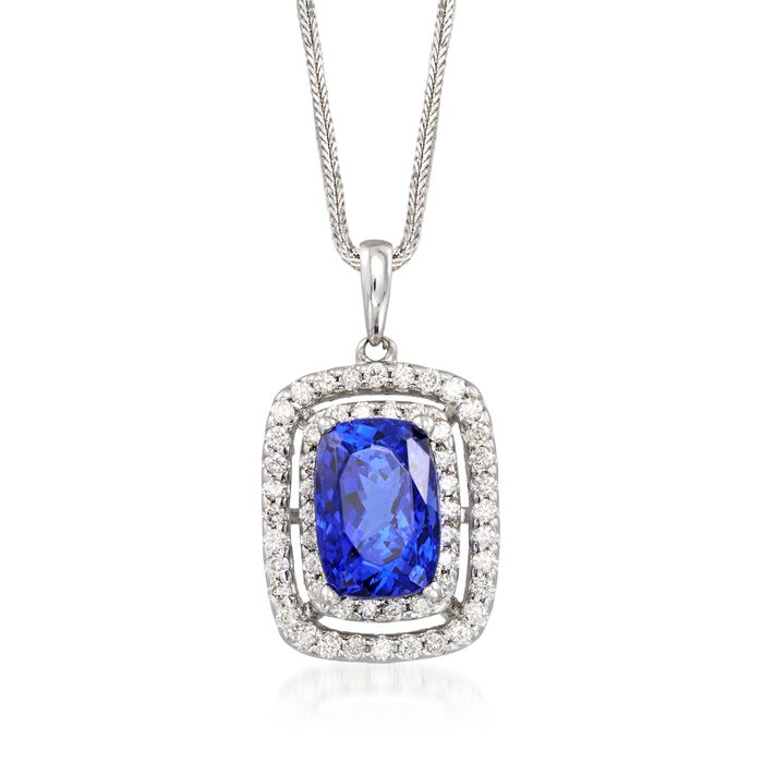 """9.25 Carat Violet Tanzanite and 1.00 ct. t.w. Diamond Pendant Necklace in 14kt White Gold. 16"""", , default"""
