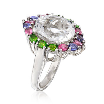 Rock Crystal and 2.70 ct. t.w. Multi-Gemstone Ring in Sterling Silver, , default