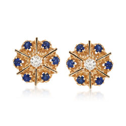 C. 1980 Vintage 2.40 ct. t.w. Sapphire and .60 ct. t.w. Diamond Drop Earrings in 14kt Yellow Gold , , default