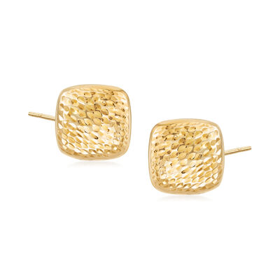 Diamond-Cut and Polished 14kt Yellow Gold Square Dome Earrings