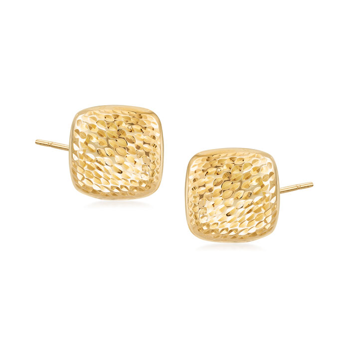 Diamond-Cut and Polished 14kt Yellow Gold Square Dome Earrings, , default