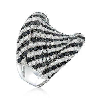 C. 1990 Vintage 2.75 ct. t.w. Black and White Diamond Ring in 18kt White Gold. Size 6.5, , default