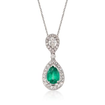 "1.55 Carat Emerald and .70 ct. t.w. Diamond Drop Pendant Necklace in 18kt White Gold. 16"", , default"