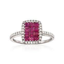 "Gregg Ruth ""Sonais"" .79 ct. t.w. Ruby and .27 ct. t.w. Diamond Ring in 18kt White Gold, , default"