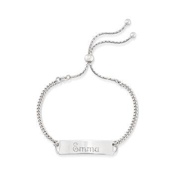 Italian Sterling Silver Name Bar ID Bolo Bracelet, , default